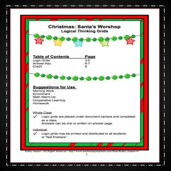 Christmas Logic Puzzles Critical Thinking Grades 1-4