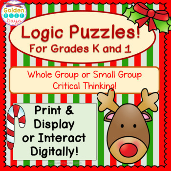 Christmas Logic Puzzles Kindergarten & 1st Grade Small Group Critical Thinking!