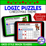 Christmas Logic Puzzles with Grids for Google Classroom Di