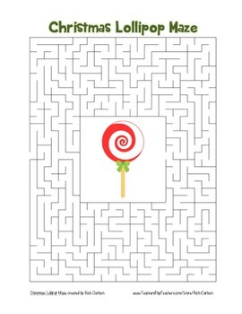 """Christmas Lollipop"" Maze! Holiday FUN! (Color and Black Line)"