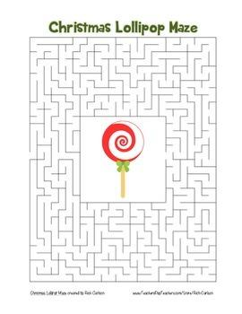 """Christmas Lollipop"" Maze! Holiday FUN! (Color and Black Line)"