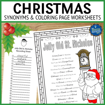 Synonyms Worksheets Christmas Songs