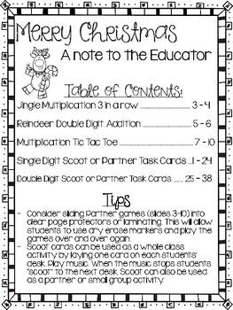 Christmas MATH Games 3rd Grade NO PREP Multiplication, Addition Games
