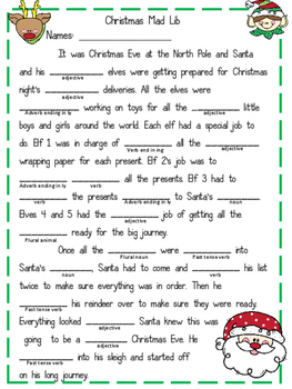 Christmas Mad Lib {Parts of Speech}
