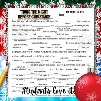"Christmas Activity: ""Mad Libs"" Writing"