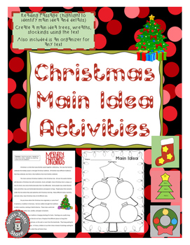 Christmas Main Idea Activity Crafts