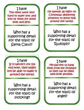 Christmas Main Idea Detail - I Have Who Has Game