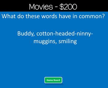 Main Idea Christmas Jeopardy Style Game Show
