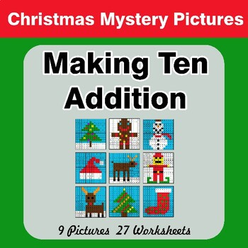 Christmas: Making Ten Addition - Math Mystery Pictures / Color By Number