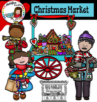 Christmas Market clip art- color and B&W