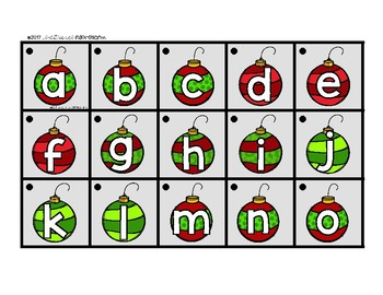 Christmas Matching Cards for Letters and Sounds