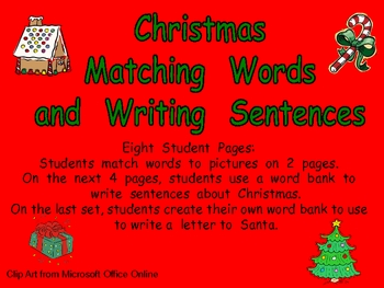 Matching word to picture teaching resources teachers pay teachers christmas matching words to pictures and writing kindergarten spiritdancerdesigns Image collections