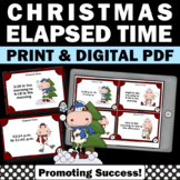 Christmas Math Activities, Elapsed Time Task Cards, 4th Grade Math Center Games