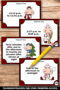 Elapsed Time Task Cards for 4th Grade Christmas Math Activities & Center Games