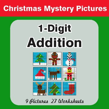 Christmas Math: 1-Digit Addition - Color-By-Number Math Mystery Pictures