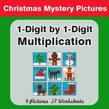 Christmas Math: 1-Digit Multiplication - Color-By-Number Math Mystery Pictures
