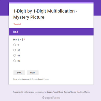 Christmas Math: 1-Digit Multiplication - Mystery Picture - Google Forms