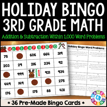 3rd Grade Christmas Activity: 3rd Grade Christmas Math Bingo Game