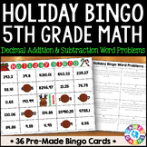 5th Grade Christmas Activity: 5th Grade Christmas Math Bingo Game