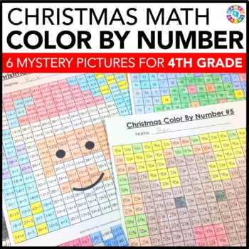 4th Grade Christmas Activities: 4th Grade Christmas Math (Color-by-Number)