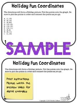 Christmas Holiday Math Coordinate Task Cards or Center
