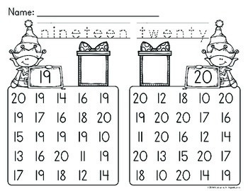 Christmas Math Number Recognition Worksheets