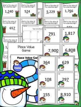 Christmas Math: Place Value Task Cards and Game