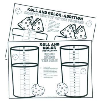 Christmas Roll and Color (colour) - 20 Math Activities on Addition & Subtraction