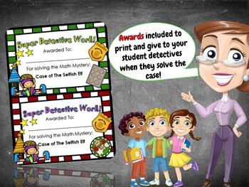 4th Grade Fun Christmas Activity - Christmas Math Mystery : Selfish Elf