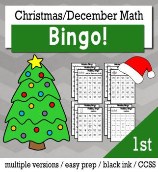 Christmas Math 1st Grade BINGO Game Bundle