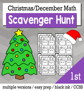 Christmas Math 1st Grade Scavenger Hunt Game Bundle