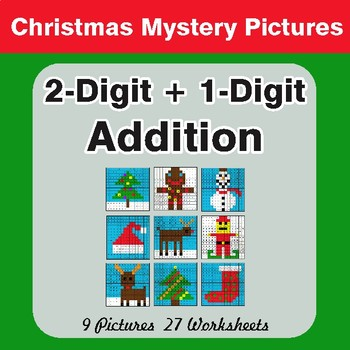 Christmas Math: 2-Digit + 1-Digit Addition - Color-By-Number Mystery Pictures