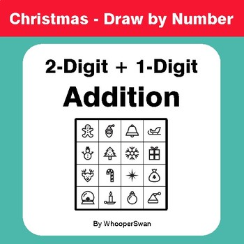 Christmas Math: 2-Digit + 1-Digit Addition - Math & Art - Draw by Number