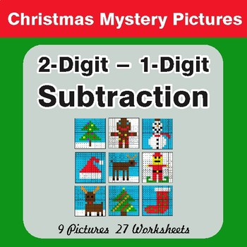 Christmas Math: 2-Digit - 1-Digit Subtraction - Color-By-Number Math Mystery Pictures