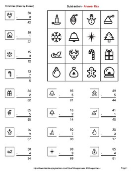 Christmas Math: 2-Digit - 1-Digit Subtraction - Math & Art - Draw by Number