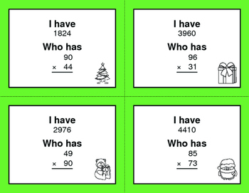 Christmas Math: 2-Digit Multiplication - I Have, Who Has