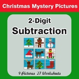 Christmas Math: 2-Digit Subtraction - Color-By-Number Mystery Pictures