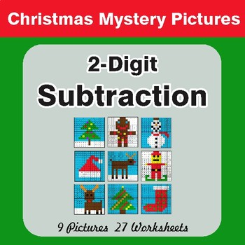 Christmas Math: 2-Digit Subtraction - Color-By-Number Math Mystery Pictures