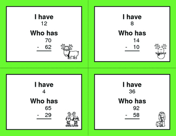Christmas Math: 2-Digit Subtraction - I Have, Who Has