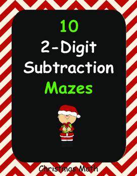 Christmas Math: 2-Digit Subtraction Maze