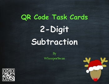 Christmas Math: 2-Digit Subtraction QR Code Task Cards