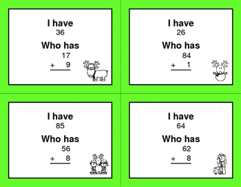 Christmas Math: 2-Digit and 1-Digit Addition - I Have, Who Has