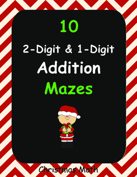 Christmas Math: 2-Digit and 1-Digit Addition Maze