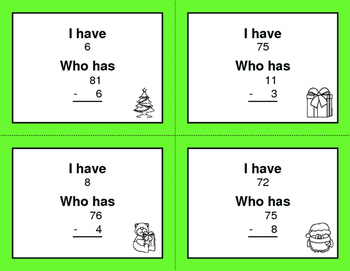 Christmas Math: 2-Digit and 1-Digit Subtraction - I Have, Who Has