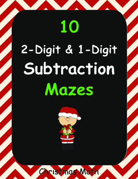 Christmas Math: 2-Digit and 1-Digit Subtraction Maze