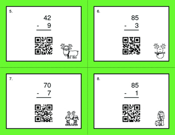 Christmas Math: 2-Digit and 1-Digit Subtraction QR Code Task Cards