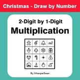 Christmas Math: 2-Digit by 1-Digit Multiplication - Math & Art - Draw by Number