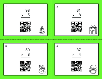 Christmas Math: 2-Digit by 1-Digit Multiplication QR Code Task Cards