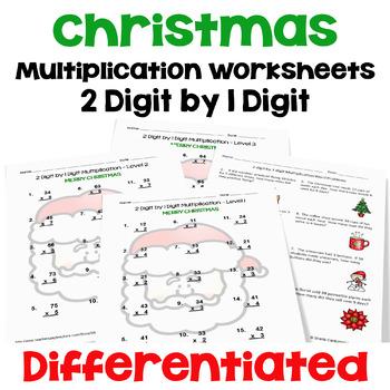 Christmas Multiplication Worksheets (2 digit by 1 digit)