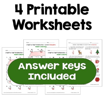 Christmas 2 digit by 1 digit Multiplication Worksheets (Differentiated)